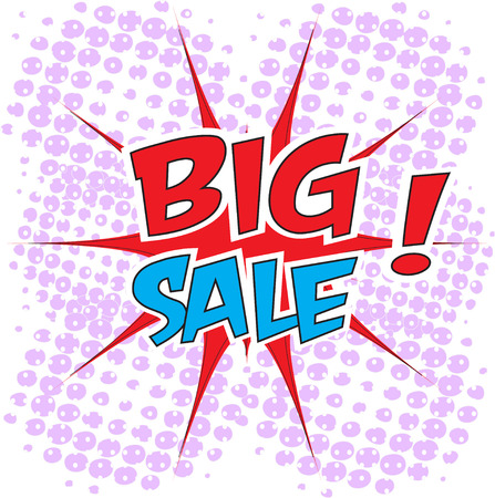 interjection: Big sale wording in comic bubble speech in pop art style