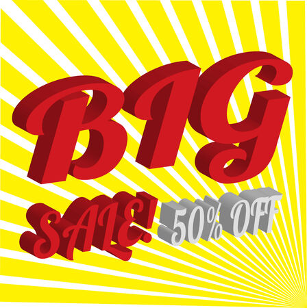 interjection: 3D Big sale wording in pop art style on yellow background