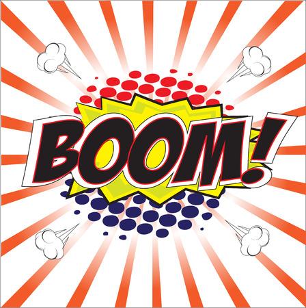 wording: BOOM  wording in Comic Speech Bubble In Pop-Art Style, Cartoon
