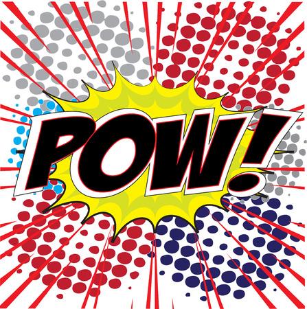 POW tekst in Comic Speech Bubble in pop-art stijl, Cartoon Vector Illustratie