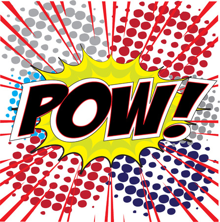 pow: POW  wording in Comic Speech Bubble In Pop-Art Style, Cartoon