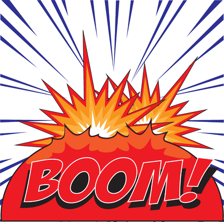 BOOM  wording in Comic Speech Bubble In Pop-Art Style, Cartoon Vector