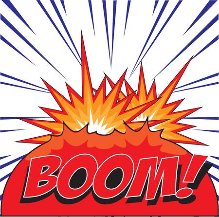 blank bomb: BOOM  wording in Comic Speech Bubble In Pop-Art Style, Cartoon