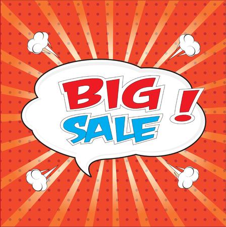 interjection: Big sale wording in comic bubble speech in pop art style on red background