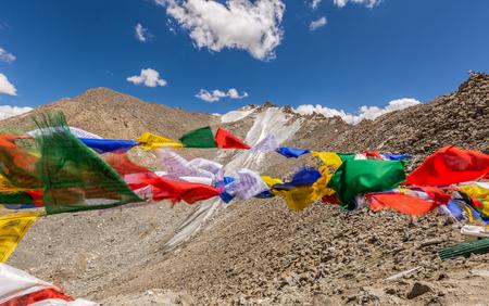 Prayer flags at Khardungla Pass, the highest motorable pass in the world, ladakh, Jammu and Kashmir, India Stock Photo