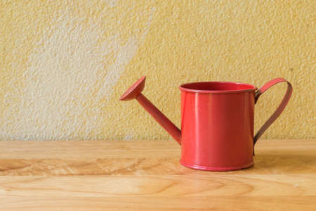 watering pot: Vintage still life with watering pot and grunge background