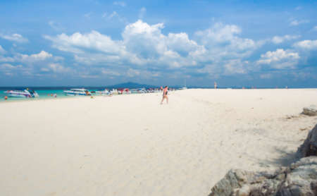bask: Abstract many tourists to swimming and bask playfully during the high season in the Andaman sea Stock Photo