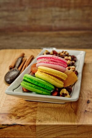 colorful still life: Still life with mix dried fruits and colorful macaroons