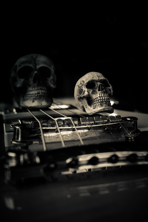 Still life with skull and electric guitar Фото со стока
