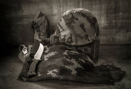 army boots: Still life with army equipments for soldier