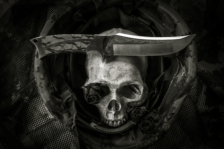 corpse flower: Still life with human skull and knife in soldier helmet