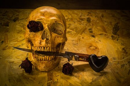 corpse flower: Still life with human skull and knife,Love style