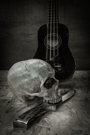 love life: Still life with human skull and knife,Love style