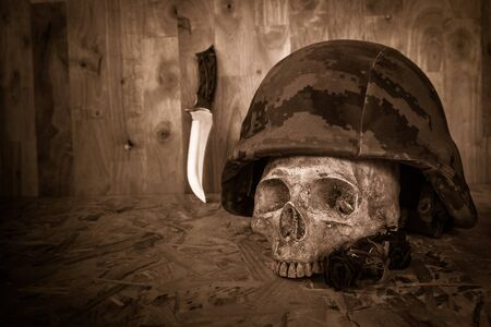 corpse flower: Still life with human skull in soldier helmet