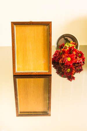 mirror frame: Wooden frame and flower on mirror floor,Still life of love