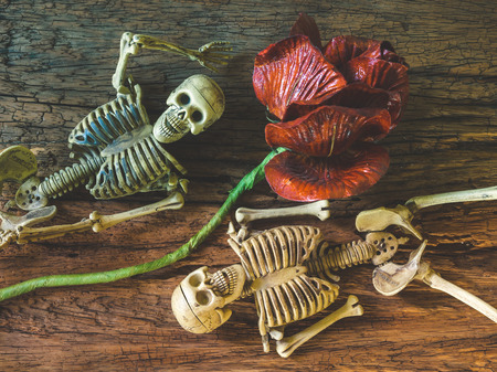 Still life with human skull on wooden background ,Love concept