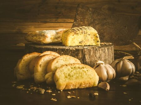 spoilage: Garlic bread and cakes have expired fungus is harmful to health. Still life object