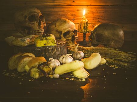 spoilage: Banana cakes and garlic bread have expired fungus is harmful to health. Still life object Stock Photo