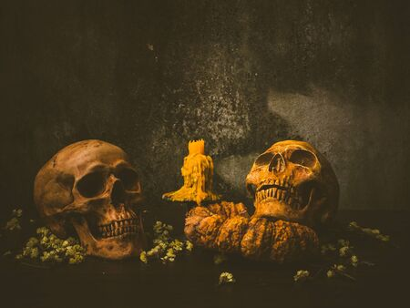 Still life with twin human skull and rotten pumpkin on abstract background