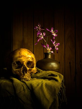 Still life with human skull and flowers on wooden background