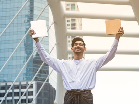 Young Burmese businessman happy after find data in laptop ,It's time to talk about business successful