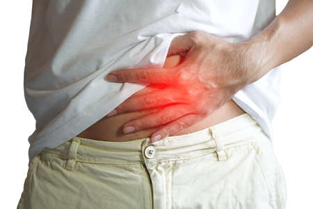 man has a lot of abdominal pain on white background Stock Photo