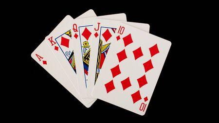 Poker cards on a black background Stock Photo