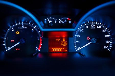 Modern car illuminated dashboard closeup Foto de archivo