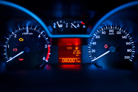 Modern car illuminated dashboard closeup Stock Photo