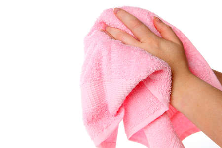 sanitize: Hands with towel