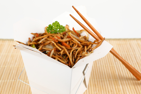chop sticks: asian noodles for take away with chop sticks