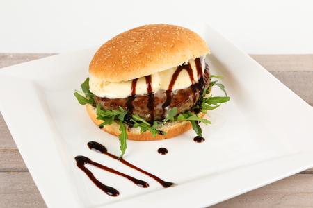 A burger with mozzarella and rocket Stock Photo