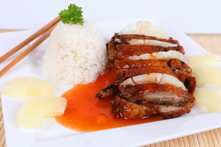 アジア鴨肉の甘酢ソースかけ