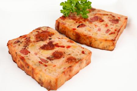 meatloaf: two slice of meatloaf on a plate