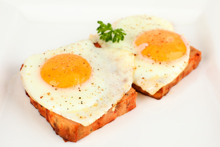 meatloaf with fried egg on a plate