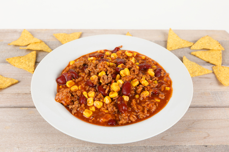 chili con carne with kidney beans and corn