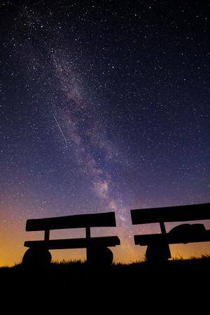 Voie lactée avec une étoile tombante sur l'Allemagne Banque d'images - 89713267