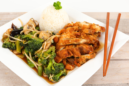 asian fried chicken with vegetables