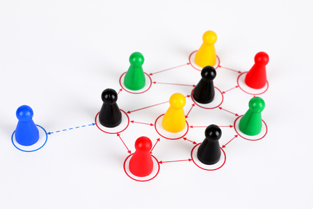 symbol picture for Teamwork with different characters Stock Photo