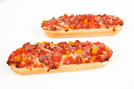 Two Pizza baguette with ham Stok Fotoğraf