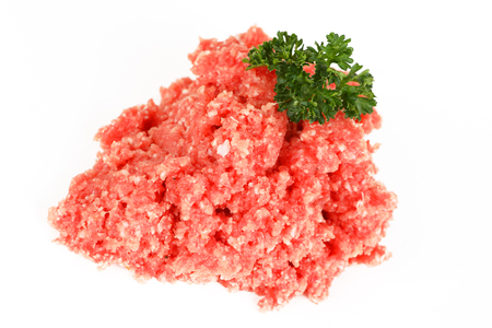 raw ground pork from butcher with white background