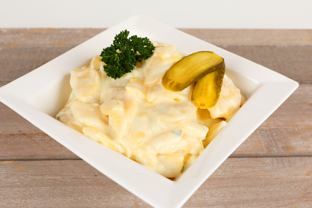 potatoe salad with cream in a bowl