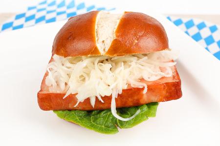 baked meat loaf in a pretzel roll