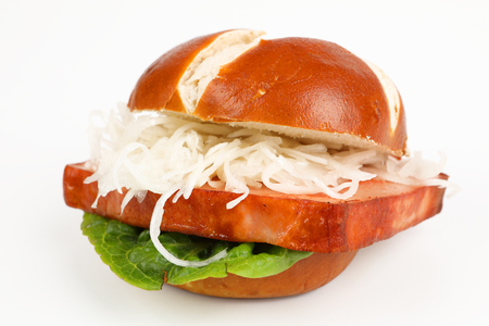 meat loaf in a pretzel roll with coleslaw 스톡 콘텐츠
