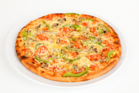 A Pizza with peppers and mushrooms