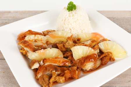 asian baked chicken with sweet sour sauce and pineapple Stok Fotoğraf