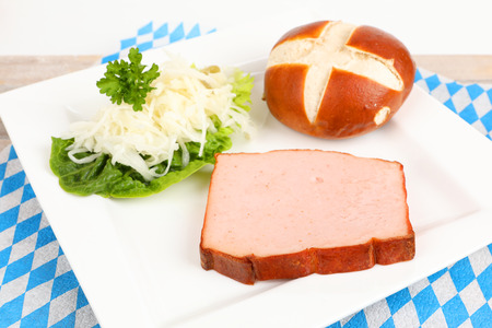 Baked meat loaf with coleslaw on a plate 스톡 콘텐츠