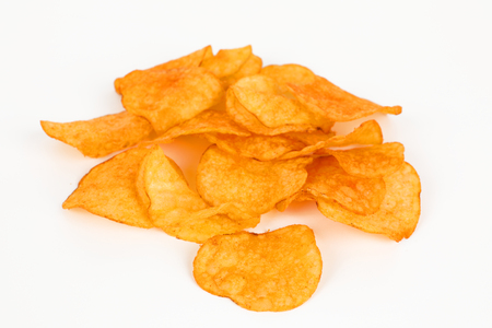 a few potatoe chips with white background