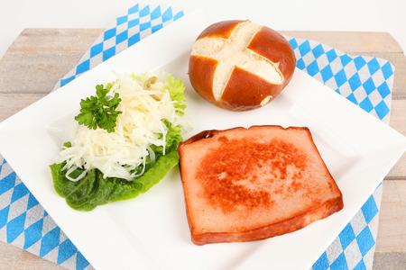 roasted meat loaf with coleslaw on a plate Stok Fotoğraf