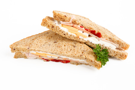 Sandwich wih Chicken and Egg with white background Stok Fotoğraf